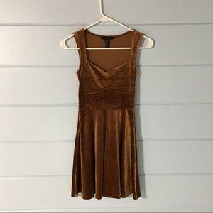 bronze velvet fit and flare dress